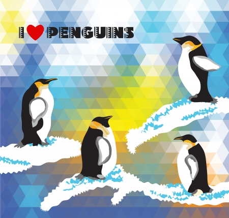 Postcard with penguins and a triangular design  Effect mosaic background Stock Vector - 25297249