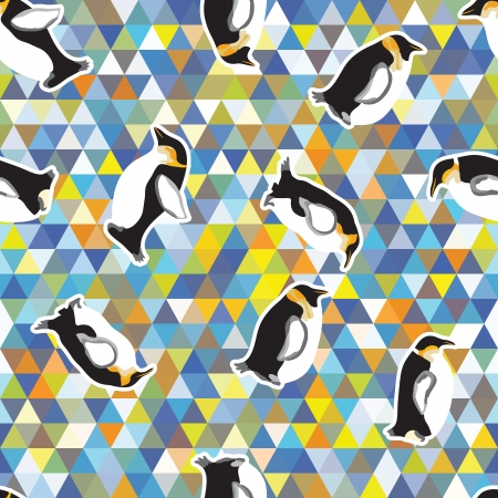 Seamless texture with penguins and a triangular design  Winter theme Stock Vector - 25297250
