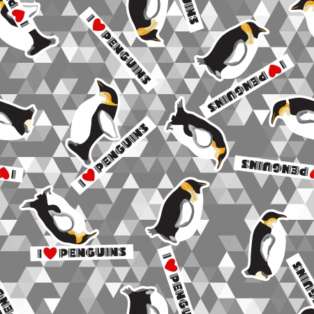 Seamless texture with penguins, hearts and a triangular design  Grey color  Winter theme