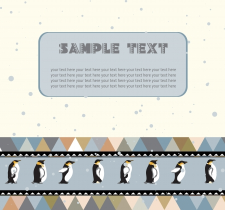 Postcard for text with penguins and a triangular design  Space for text  The illusion of falling snow Stock Vector - 25297253
