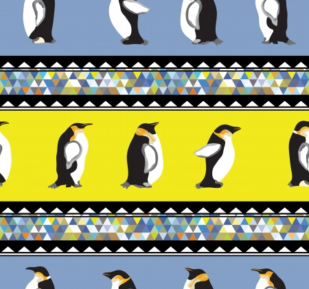 Seamless texture with penguins and a triangular design  Winter theme   Stock Vector - 25297254