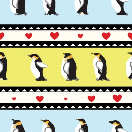 Seamless texture with penguins, triangular design, hearts   Winter theme   Vector