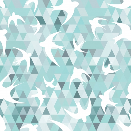 bird wings: Seamless texture with the swallows, and triangles  White silhouettes of birds  Mosaic effect