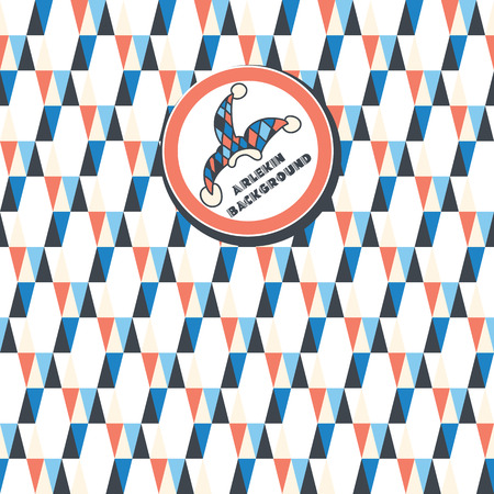 shortcut: a seamless pattern of white, dark blue, red triangles on a white background  Shortcut with the clown hat