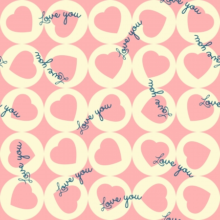 seamless pattern of pink hearts in the yellow circles.   Vector