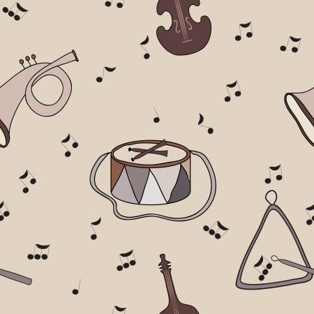 rhythmical: Seamless background with music notes and instruments  Warm coffee tone  Beige background