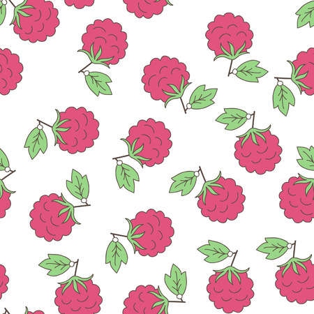 Seamless background with berries  raspberry  Fruit pattern  White background, bright objects