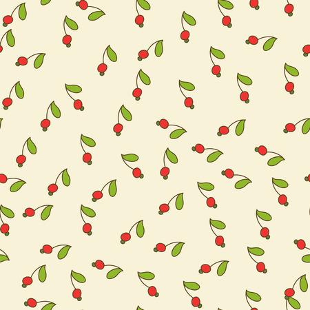 붉은 열매와 녹색 원활한 배경 벽지, 텍스처, 패턴 채우기로 사용되는 소품 잎 일러스트