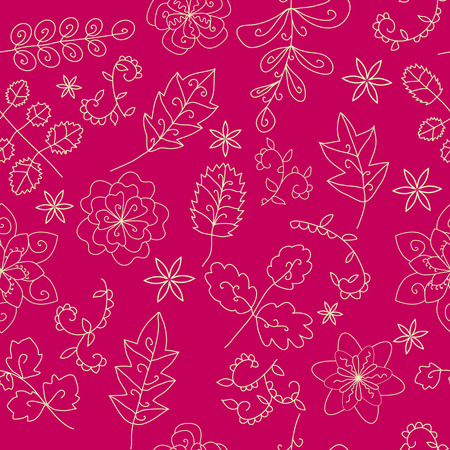 bright floral seamless patern  pink background  contour drawing  vegetable elements  flowers and leaves  Vector