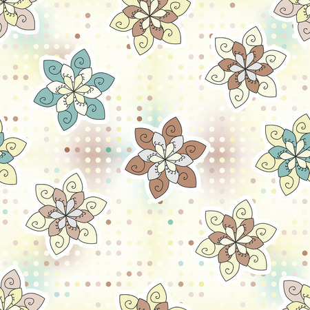 seamless background of ethnic flower and dots  pastel color pattern  used as wallpaper, texture, pattern fill Vector