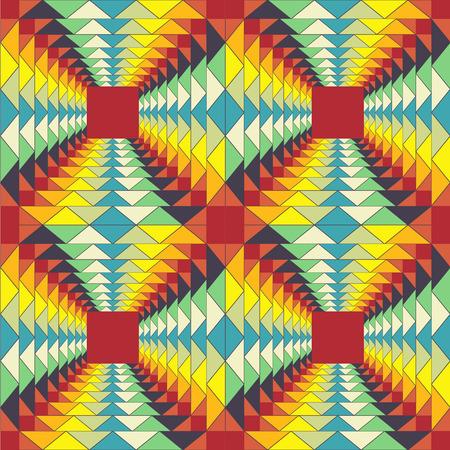 motif géométrique abstrait coloré illusion fractale toile de fond coloré seamless Illustration
