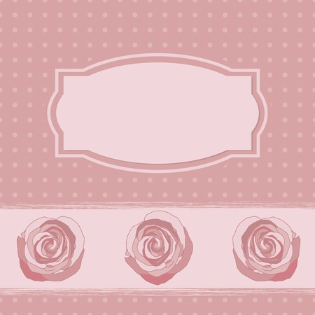 reiteration: Pink vignette frame with roses for text. background in peas