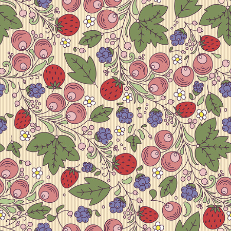 seamless texture with strawberry, berry, leaf on a light backgroundrry, berry, leaf on a light background. Use as a pattern fill, backdrop