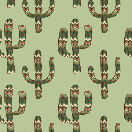 seamless green background with cactus. Use as a pattern fill, backdrop, seamless texture. Vector