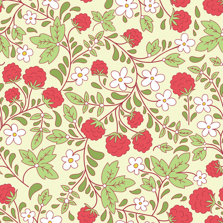seamless texture with raspberry and green leaves. Use as a pattern fill, backdrop, surface texture. Vector