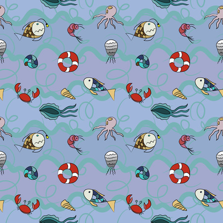 seamless texture pattern with marine life.  Use as a pattern fill, backdrop, surface texture. Vector