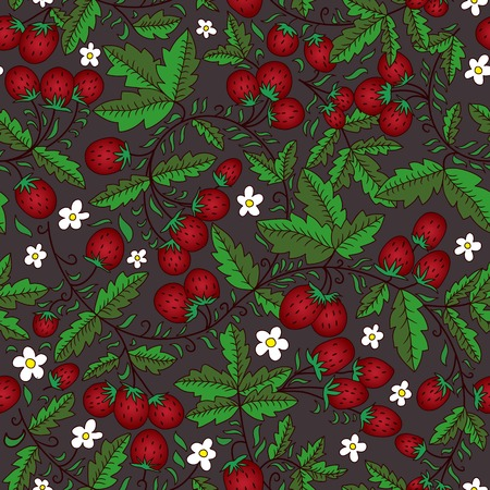 seamless texture with flowers, leaves, wild strawberry on a dark background. Use as a pattern fill, backdrop, surface texture. Vector