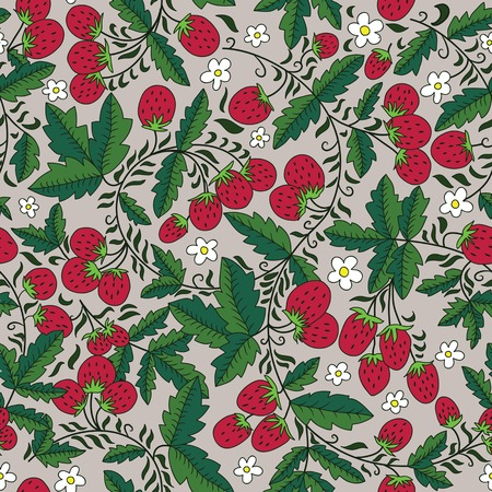 seamless texture with strawberries and leaves. Can be used as a background picture, pattern fill, surface texture, a figure for tissue Vector