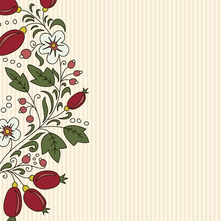 striped background barberry with white flower on a beige background.Use as backdrop, greeting card Vector