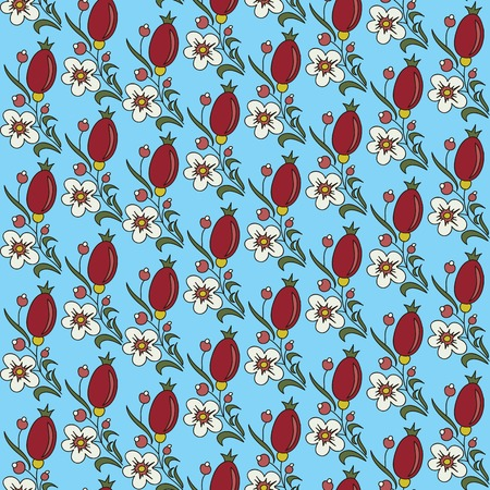 seamless texture barberry  with white flowers on a blue background Use as a pattern fill, backdrop, seamless texture Vector
