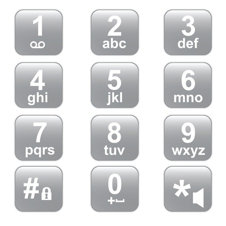 The telephone keyboard of gray colour  Square buttons