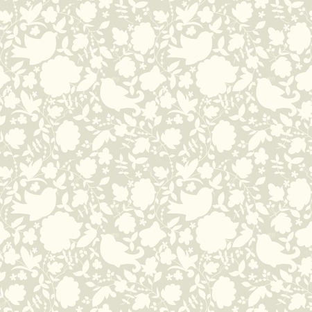 Neutral floral ornament  plant motives  Beige tone  Use as a fill pattern, backdrop, seamless texture