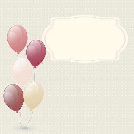 Greeting card with balloons  Used as a backdrop  beige used for holiday or birthday  space for text Vector