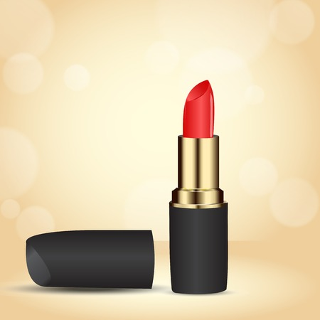 red lipstick in gold case on a beige with bokeh effect  used as a backdrop or greeting card  space for text Vector
