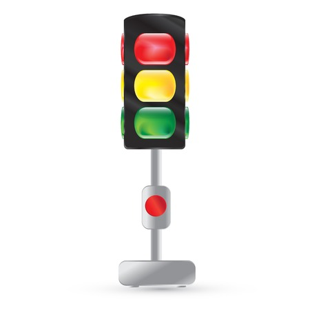 Isolated traffic light painted on a white Traffic lights on a steel leg  Red button  Red, yellow, green light Vector