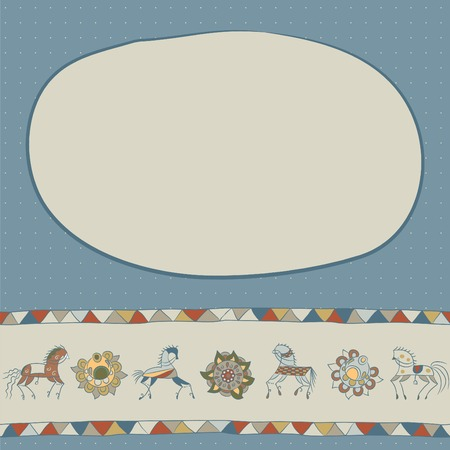 illustration with horses, flower and triangles. Place your texy on the top. Use as greeting card