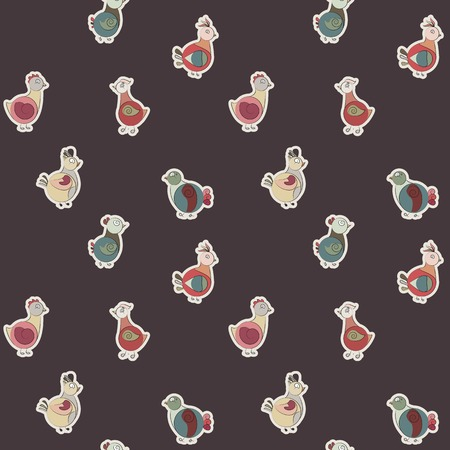 ethnics: abstract turkey birds and pigeons. little ethnics. Use as a fill pattern, seamless texture, wallpaper, backdrop