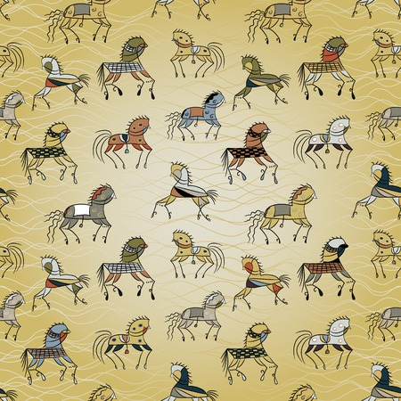 ethnics horse galloping on a gold background wave. colored seamless texture. used as fill pattern, backdrop, wallpaper, pattern for fabric Vector