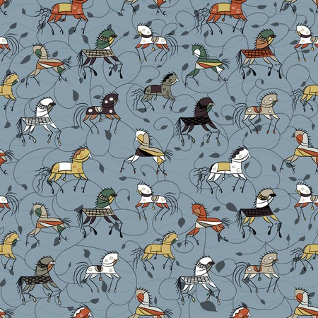 ethnics: ethnics horse galloping on a blue background plant. colored seamless texture. used as fill pattern, backdrop, wallpaper, pattern for fabric