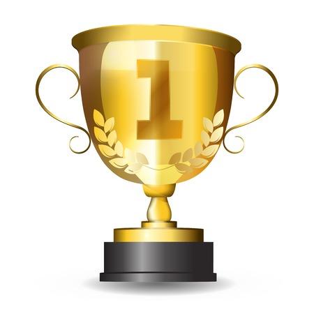primer lugar: Premio Copa de Oro trophy.gold primer lugar. objeto aislado en un fondo blanco. Vectores