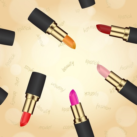 lipstick in case on a beige background with bokeh effect. used as a backdrop or greeting card. space for text Vector