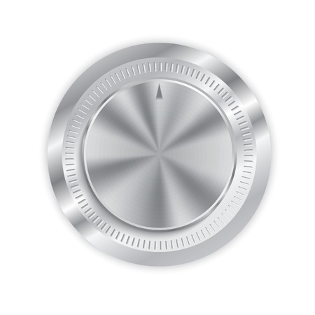 Realistic metal button with circular processing  or volume control Ilustrace