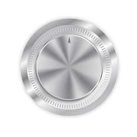 Realistische Metallknopf mit kreisförmigen Bearbeitung oder Lautstärkeregler