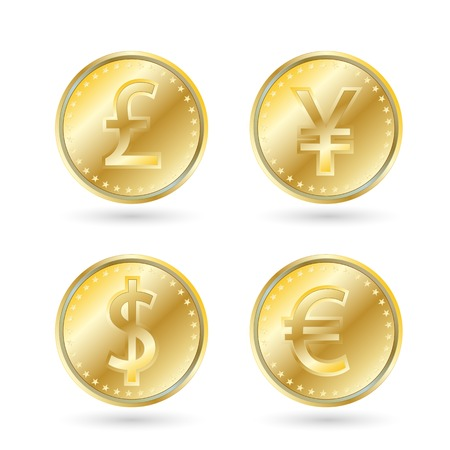 currency symbols, gold coin. dollar, yen, euro, pound sterling