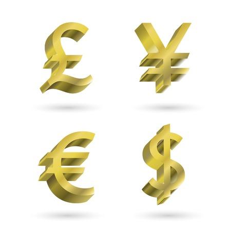 libra esterlina: símbolos de moneda. dólar, yen, euro, libra esterlina Vectores