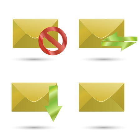 Set of icons of the four envelopes. Use the buttons for web design. Illustration