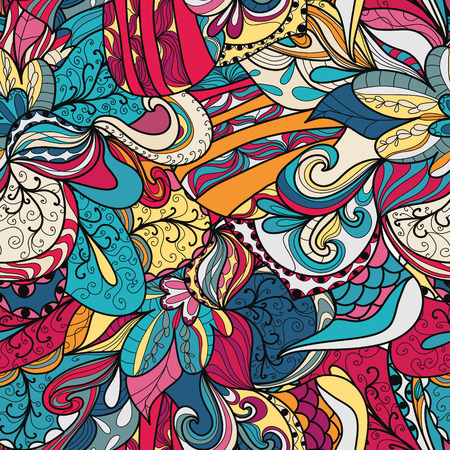 clots: Seamless abstract hand-drawn texture. Bright color. Endless floral pattern.