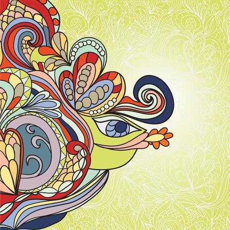 psychoanalysis: hand-drawn wave and fish pattern, wavy background