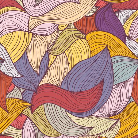 psychoanalysis: Seamless abstract hand-drawn waves pattern, wavy background.  Illustration