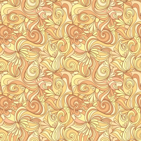 clots: Seamless abstract gold color hand-drawn texture. Pale pastel color. Endless floral pattern. Illustration