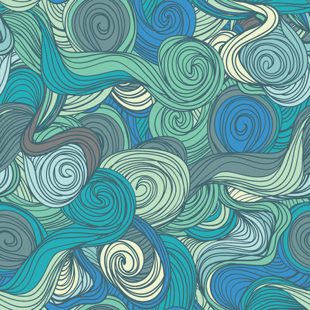 psychoanalysis: Seamless abstract hand-drawn blue waves pattern, wavy background. Seamless pattern can be used for wallpaper, pattern fills, web page background,surface textures.  seamless floral background