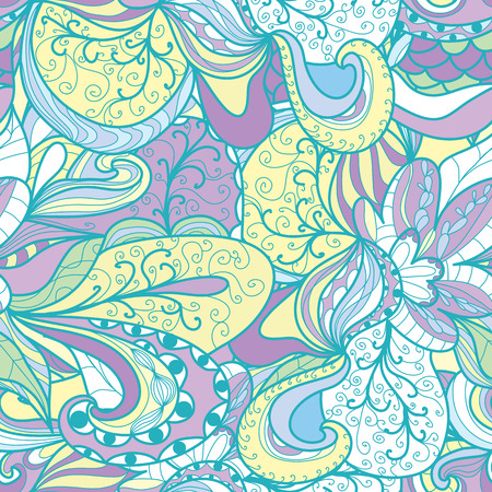 psychoanalysis: Seamless abstract hand-drawn texture, pale pastel color. Endless floral pattern.