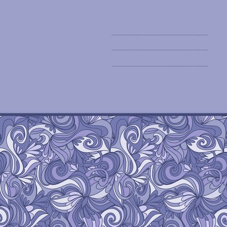 waves pattern: card with abstract hand-drawn lilac waves pattern, wavy background.