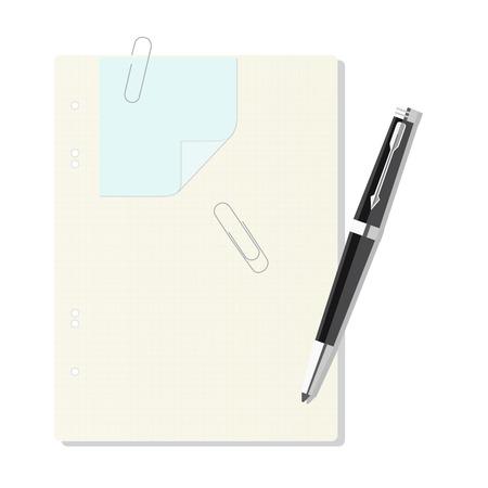 pluma y papel: Libro de ejercicio en una jaula, pluma, clip de papel, hoja.