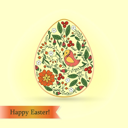 Easter egg with bird and flowers.  Vector