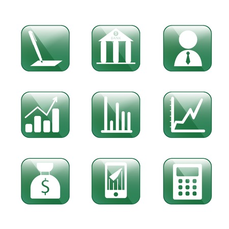 Finance icons,vector. Green glass style icon. Use for web design Vector